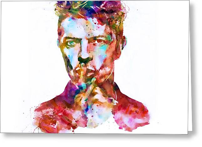 Ziggy Stardust Greeting Cards - David Bowie watercolor Greeting Card by Marian Voicu