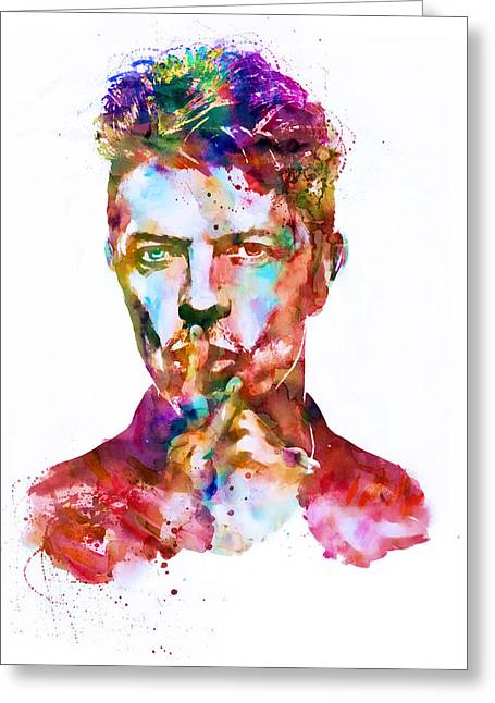 British Celebrities Mixed Media Greeting Cards - David Bowie watercolor Greeting Card by Marian Voicu