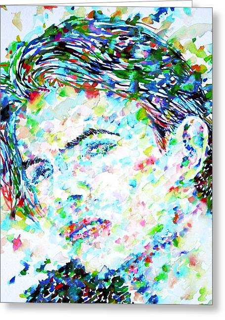Ziggy Stardust Greeting Cards - DAVID BOWIE - watercolor portrait.5 Greeting Card by Fabrizio Cassetta