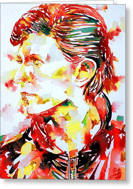 Ziggy Stardust Greeting Cards - David Bowie Watercolor Portrait.1 Greeting Card by Fabrizio Cassetta