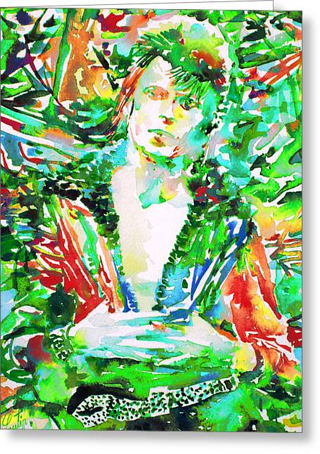 Ziggy Stardust Greeting Cards - David Bowie Watercolor Portrait.2 Greeting Card by Fabrizio Cassetta