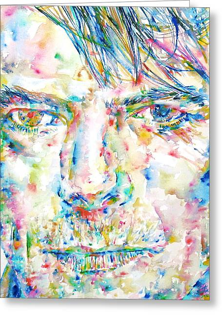 Ziggy Stardust Greeting Cards - David Bowie Watercolor Portrait.4 Greeting Card by Fabrizio Cassetta