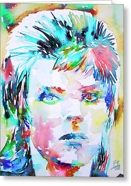 Ziggy Stardust Greeting Cards - DAVID BOWIE - watercolor portrait.6 Greeting Card by Fabrizio Cassetta
