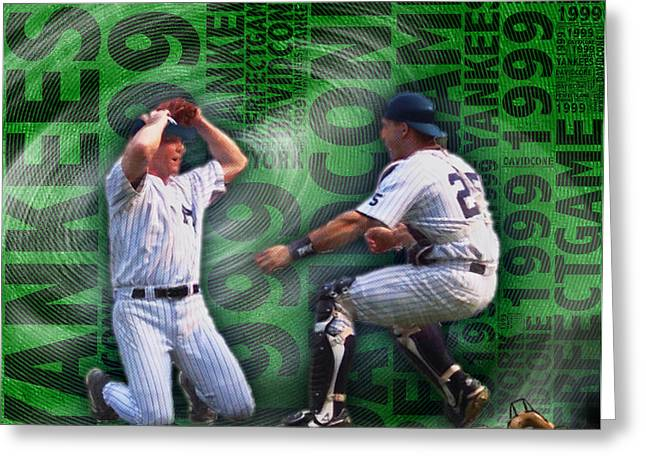 Baseball Uniform Greeting Cards - David Cone Yankees Perfect Game 1999 Greeting Card by Tony Rubino