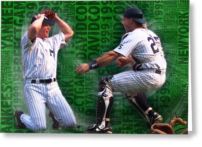 Baseball Uniform Greeting Cards - David Cone Yankees Perfect Game 1999 Zoom Greeting Card by Tony Rubino