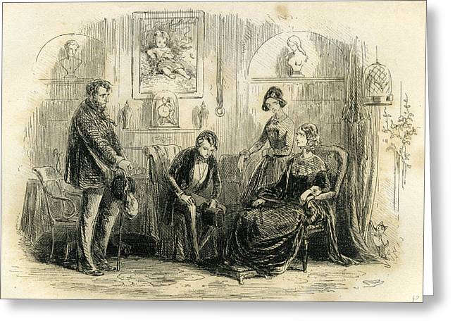 David Copperfield Mr. Peggotty And Mrs Greeting Card by English School