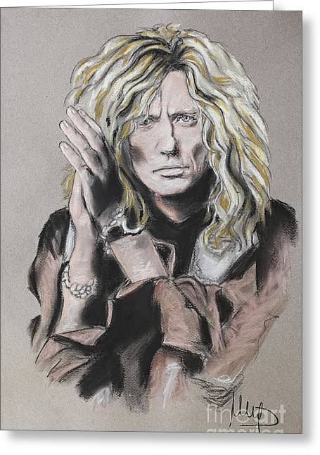 Singer Pastels Greeting Cards - David Coverdale Greeting Card by Melanie D