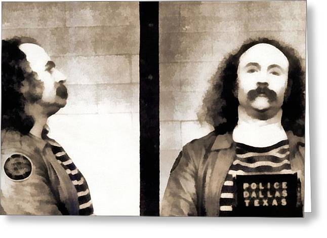 Police Officer Mixed Media Greeting Cards - David Crosby Mugshot Greeting Card by Dan Sproul