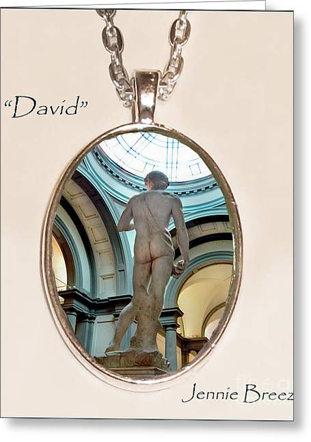 Sculpture Jewelry Greeting Cards - DAVID-Custom Pendant Greeting Card by Jennie Breeze