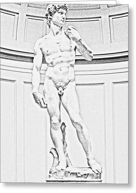 Michelangelos David Greeting Cards - David digital artwork Greeting Card by Georgeta Blanaru