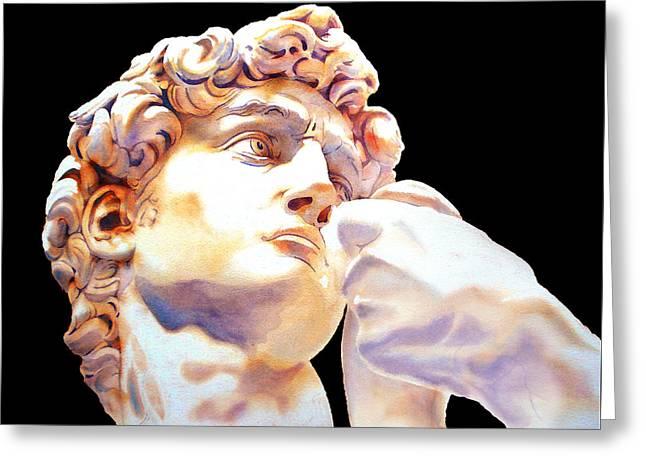 David Face By Michelangelo   Black Greeting Card by Jose Espinoza