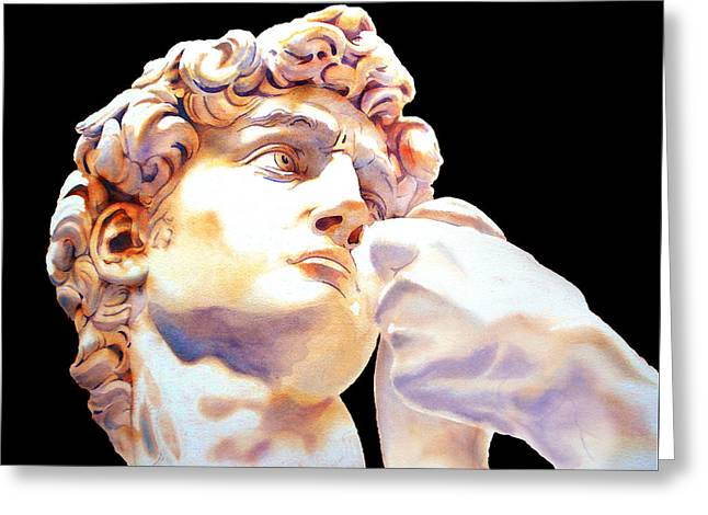 Michelangelo Greeting Cards - DAVID face by Michelangelo   black Greeting Card by Jose Espinoza