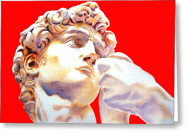 Michelangelo Greeting Cards - DAVID FACE by Michelangelo   red Greeting Card by Jose Espinoza