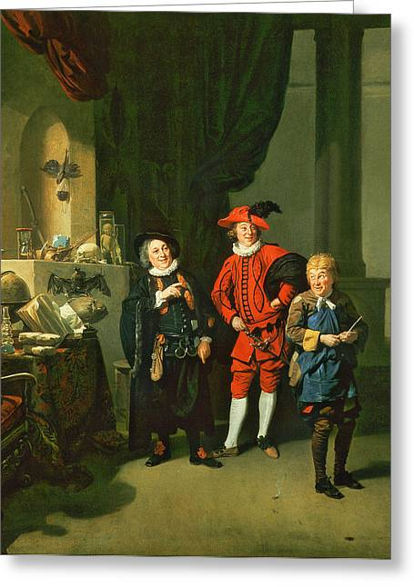 Experiment Greeting Cards - David Garrick With William Burton And John Palmer In The Alchemist By Ben Jonson, 1770 Greeting Card by Johann Zoffany