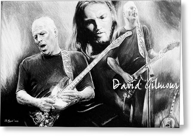 Famous ist Drawings Greeting Cards - David Gilmour Greeting Card by Andrew Read