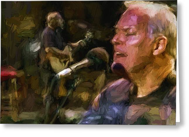 Live Music Digital Art Greeting Cards - David Gilmour at Pink Floyd 2 Greeting Card by Yury Malkov