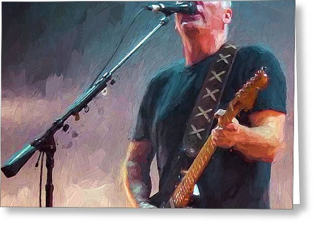 Live Music Digital Art Greeting Cards - David Gilmour at Pink Floyd Greeting Card by Yury Malkov