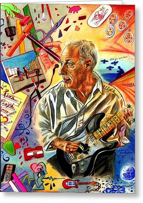 Fender Strat Drawings Greeting Cards - David Gilmour Collage drawing Greeting Card by Zuzana Gyarfasova