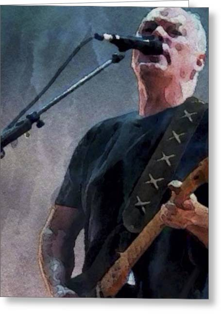 Live Music Digital Art Greeting Cards - David Gilmour Concert 1 Greeting Card by Yury Malkov