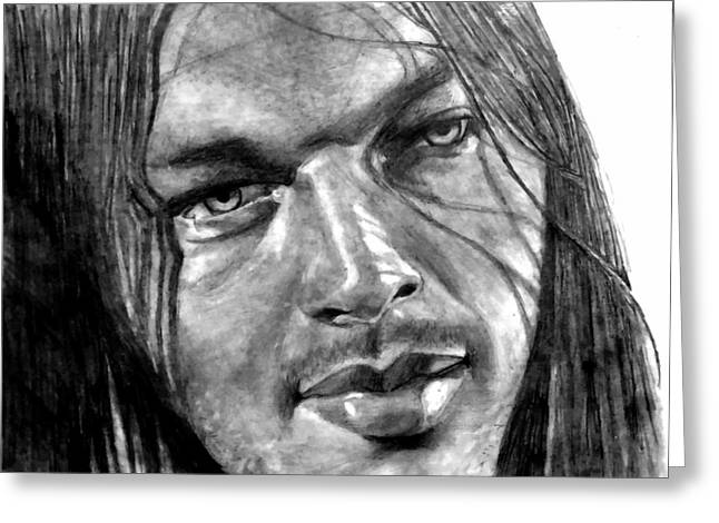 The Les Paul Guitar Greeting Cards - David Gilmour Greeting Card by Ezra Strayer