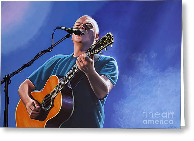 British Celebrities Greeting Cards - David Gilmour Greeting Card by Paul  Meijering