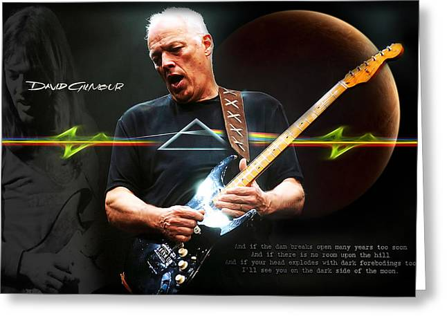 The Moons Greeting Cards - David Gilmour Greeting Card by Peter Chilelli