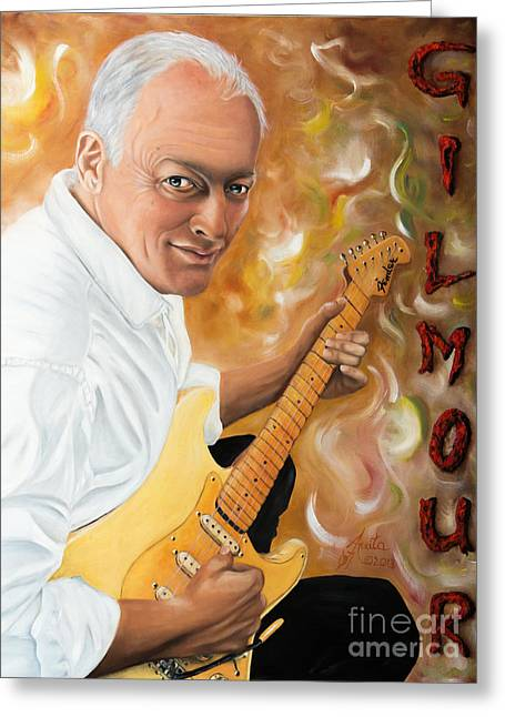 Shower Curtain Greeting Cards - David Gilmour Pink Floyd Greeting Card by  ILONA ANITA TIGGES - GOETZE  ART and Photography