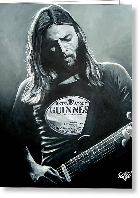 Carlton Greeting Cards - David Gilmour Greeting Card by Tom Carlton