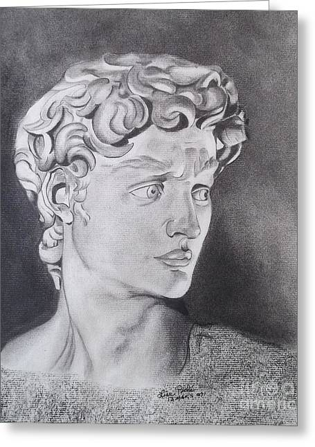 Michaelangelos David Drawings Greeting Cards - David in pencil Greeting Card by Lise PICHE
