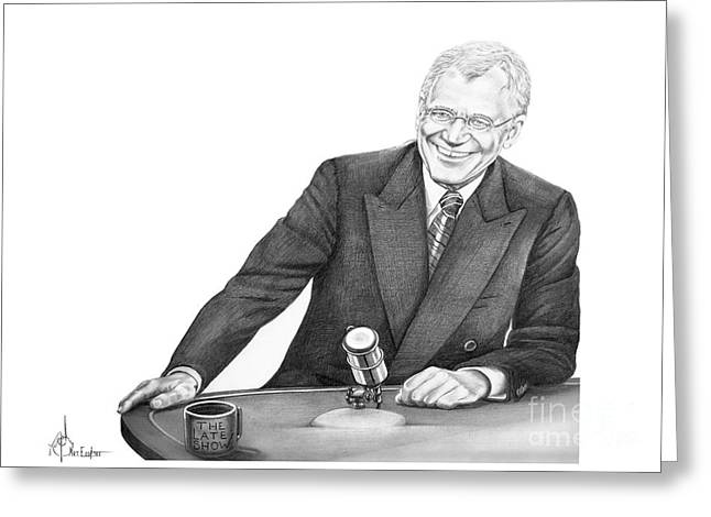 Tonight Greeting Cards - David Letterman Greeting Card by Murphy Elliott