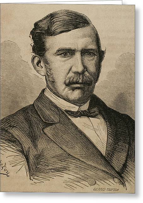 Familiar Greeting Cards - David Livingstone 1813-1873. Engraving Greeting Card by Bridgeman Images