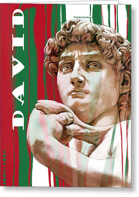 Michelangelo Greeting Cards - David - Michelangelo - Stylised modern drawing art sketch  Greeting Card by Kim Wang