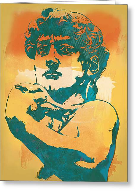 Michelangelo Greeting Cards - David - Michelangelo - Stylised modern pop art poster Greeting Card by Kim Wang