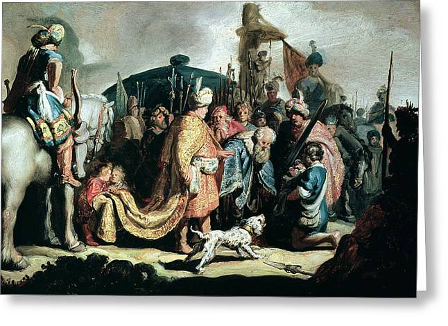 Hebrews Greeting Cards - David Offering The Head Of Goliath To King Saul, 1627 Oil On Panel Greeting Card by Rembrandt Harmensz. van Rijn