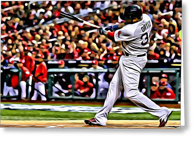 Red Sox Vintage Poster Greeting Cards - David Ortiz Painting Greeting Card by Florian Rodarte