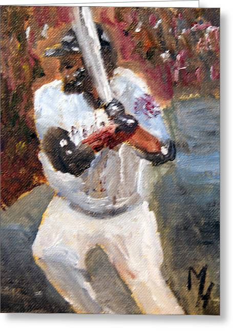 Boston Red Sox Paintings Greeting Cards - David Ortiz Stepping into the Pitch Greeting Card by Michael Helfen