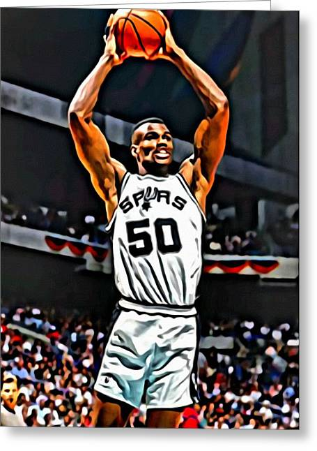 Best Sellers -  - Slamdunk Greeting Cards - David Robinson Greeting Card by Florian Rodarte