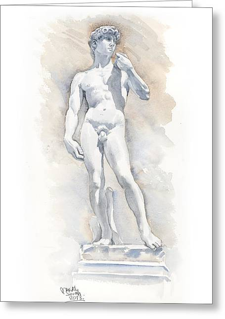 Statue Portrait Paintings Greeting Cards - David Sculpture by Michelangelo Greeting Card by Maddy Swan