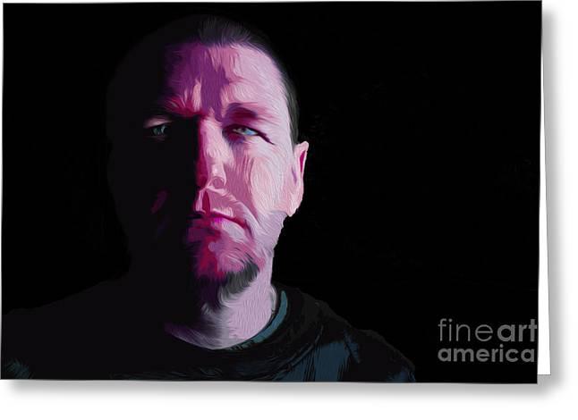 Self-portrait Photographs Greeting Cards - David Self Portrait Digital Oil Painting Greeting Card by David Haskett