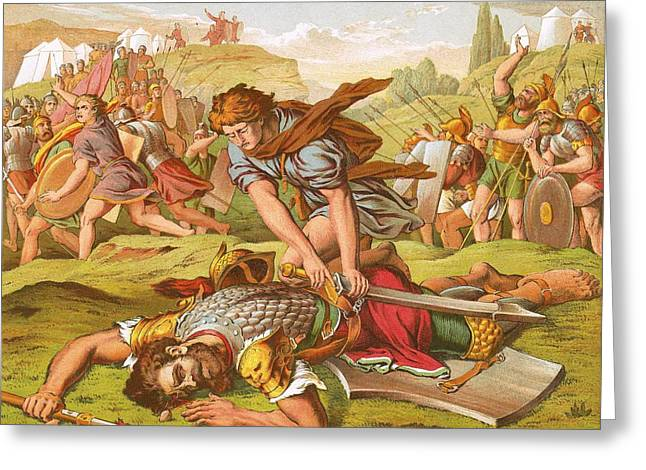 Goliath Greeting Cards - David Slaying the Giant Goliath Greeting Card by English School