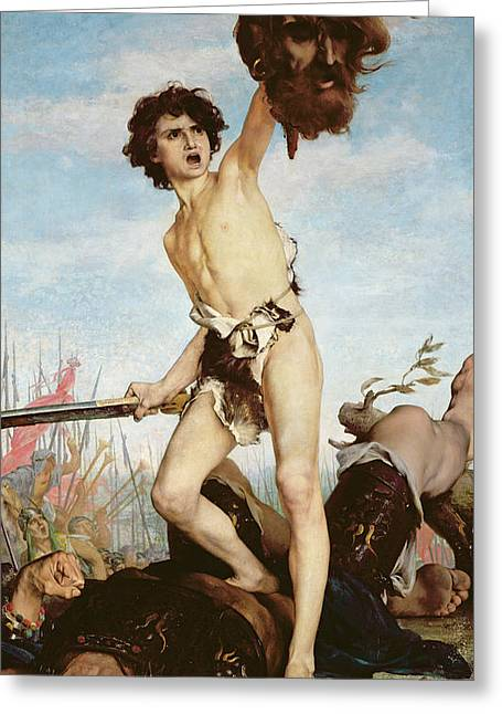 Overcome Greeting Cards - David Victorious Over Goliath Greeting Card by Gabriel Joseph Marie Augustin Ferrier