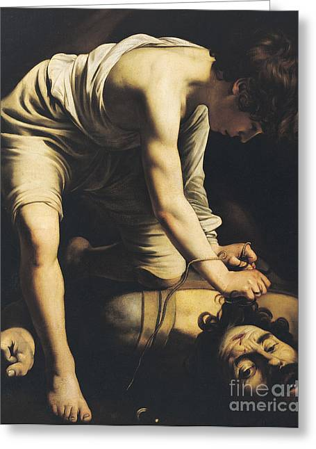 Overcome Greeting Cards - David Victorious over Goliath Greeting Card by Michelangelo Merisi da Caravaggio