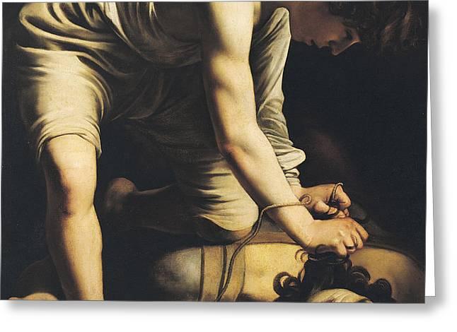 David Victorious over Goliath Greeting Card by Michelangelo Merisi da Caravaggio