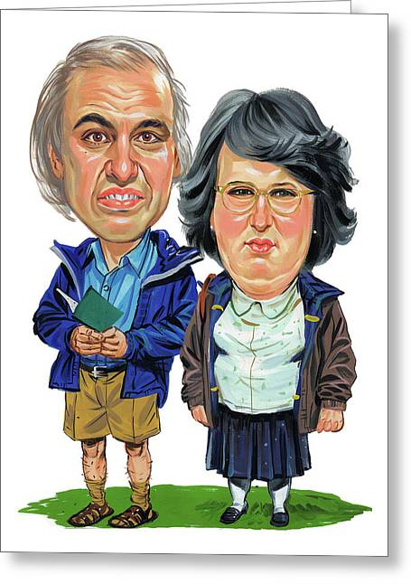 David Walliams And Matt Lucas As George And Sandra Greeting Card by Art