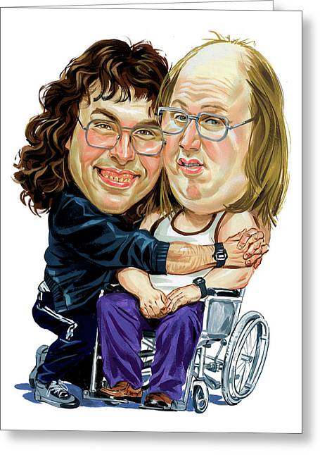 David Greeting Cards - David Walliams and Matt Lucas as Lou and Andy Greeting Card by Art
