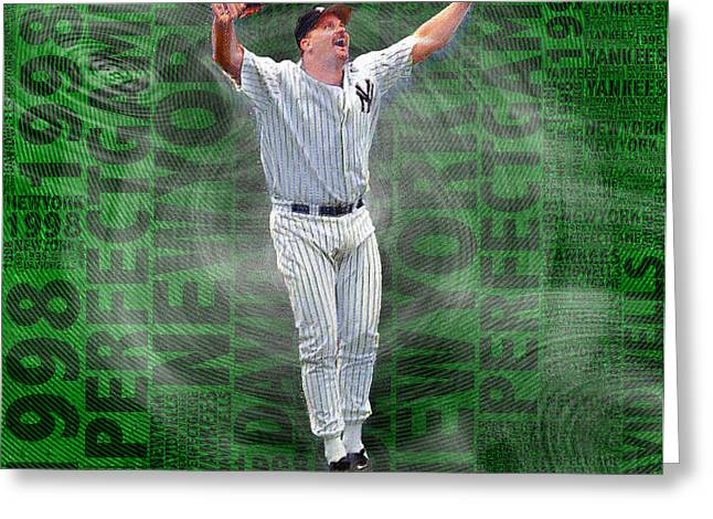 Baseball Uniform Greeting Cards - David Wells Yankees Perfect Game 1998 Greeting Card by Tony Rubino