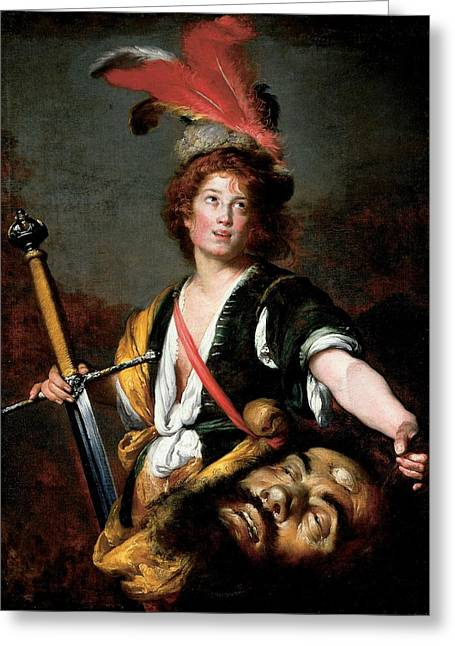 Triumphant Greeting Cards - David With The Head Of Goliath, C.1636 Oil On Canvas Greeting Card by Bernardo Strozzi