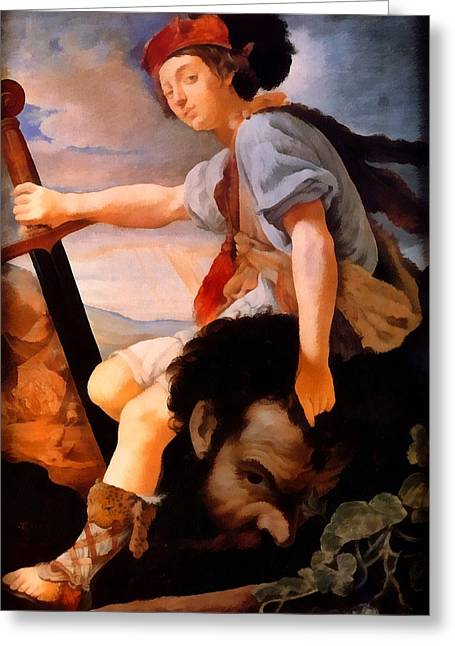 Bible; David; Goliath Greeting Cards - David With The Head Of Goliath Greeting Card by Thomas Flatman