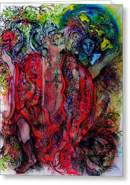 Robe Pastels Greeting Cards - Davids Dream Greeting Card by Josie Taglienti