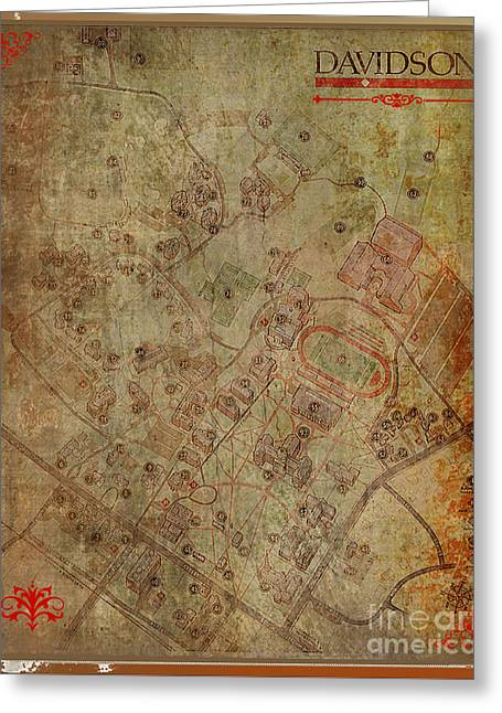 Paulette Wright Digital Art Greeting Cards - Davidson College Map Greeting Card by Paulette B Wright